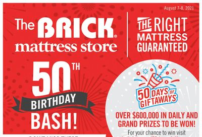 The Brick Mattress Store 50th Birthday Bash Flyer August 5 to 19
