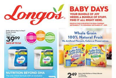 Longo's Baby Days Flyer September 2 to 29