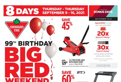 Canadian Tire 99th Birthday Big Red Weekend Flyer September 9 to 16