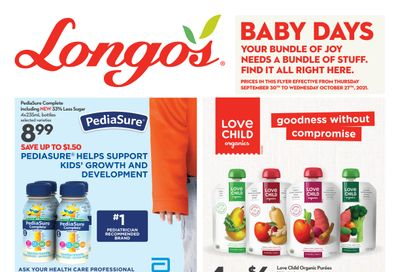 Longo's Baby Days Flyer September 30 to October 27
