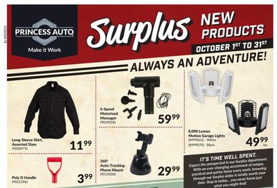 Princess Auto Surplus New Products Flyer October 1 to 31
