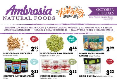 Ambrosia Natural Foods Flyer October 1 to 31
