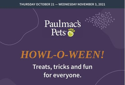 Paulmac's Pets Flyer October 21 to November 3