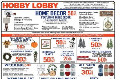 Hobby Lobby Weekly Ad Flyer October 25 to November 1