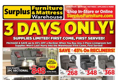 Surplus Furniture & Mattress Warehouse (Barrie) Flyer October 25 to 31