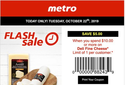 Metro Canada Flash Sale Coupon: Save $5 When You Spend $10 on  Deli Fine Cheese, October 22