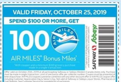 Sobeys Canada Coupon: Spend $100 Get 100 Bonus Miles, October 25