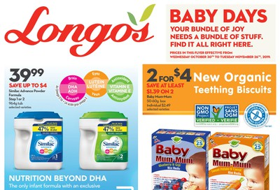 Longo's Baby Flyer October 30 to November 26