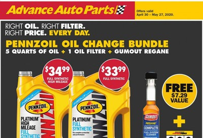 Advance Auto Parts Weekly Ad & Flyer April 30 to May 27