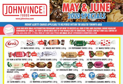 Johnvince Foods Wholesale Specials Flyer May 1 to June 30