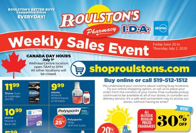 Roulston's Pharmacy Flyer June 26 to July 2