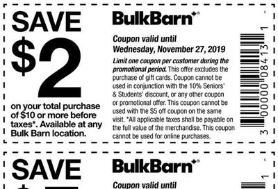 Bulk Barn Canada Coupons: Save $2 to $5, November 13 - 27