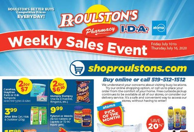 Roulston's Pharmacy Flyer July 10 to 16
