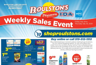 Roulston's Pharmacy Flyer July 24 to 30