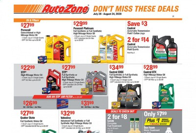 Autozone Weekly Ad July 28 to August 24