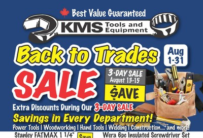 KMS Tools and Equipment Flyer August 1 to 31