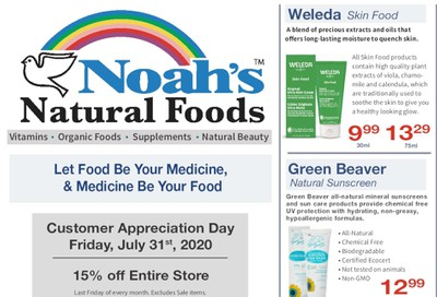 Noah's Natural Foods Flyer August 1 to 31