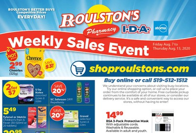 Roulston's Pharmacy Flyer August 7 to 13