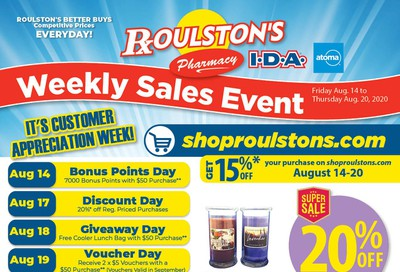 Roulston's Pharmacy Flyer August 14 to 20