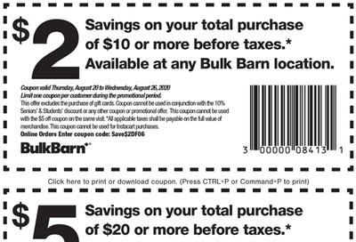 Bulk Barn Canada Coupons: Save $2 to $5 Off, until August 26