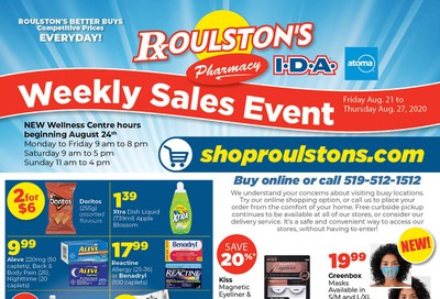 Roulston's Pharmacy Flyer August 21 to 27