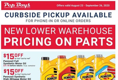 Pep Boys Weekly Ad August 23 to September 26