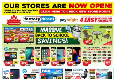 Factory Direct Flyer August 26 to September 2