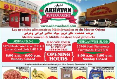 Akhavan Supermarche Flyer August 26 to September 1