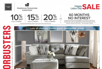 American Signature Furniture Weekly Ad September 1 to September 7