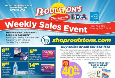 Roulston's Pharmacy Flyer August 28 to September 3