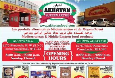 Akhavan Supermarche Flyer September 9 to 15