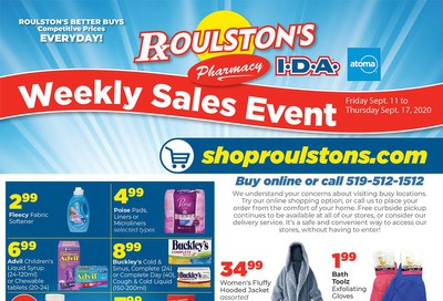 Roulston's Pharmacy Flyer September 11 to 17