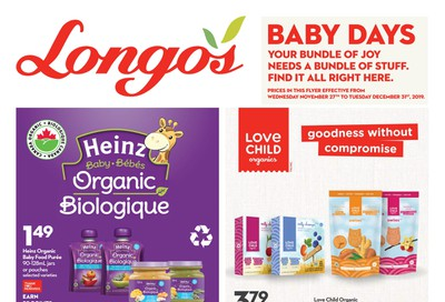 Longo's Baby Days Flyer November 27 to December 31