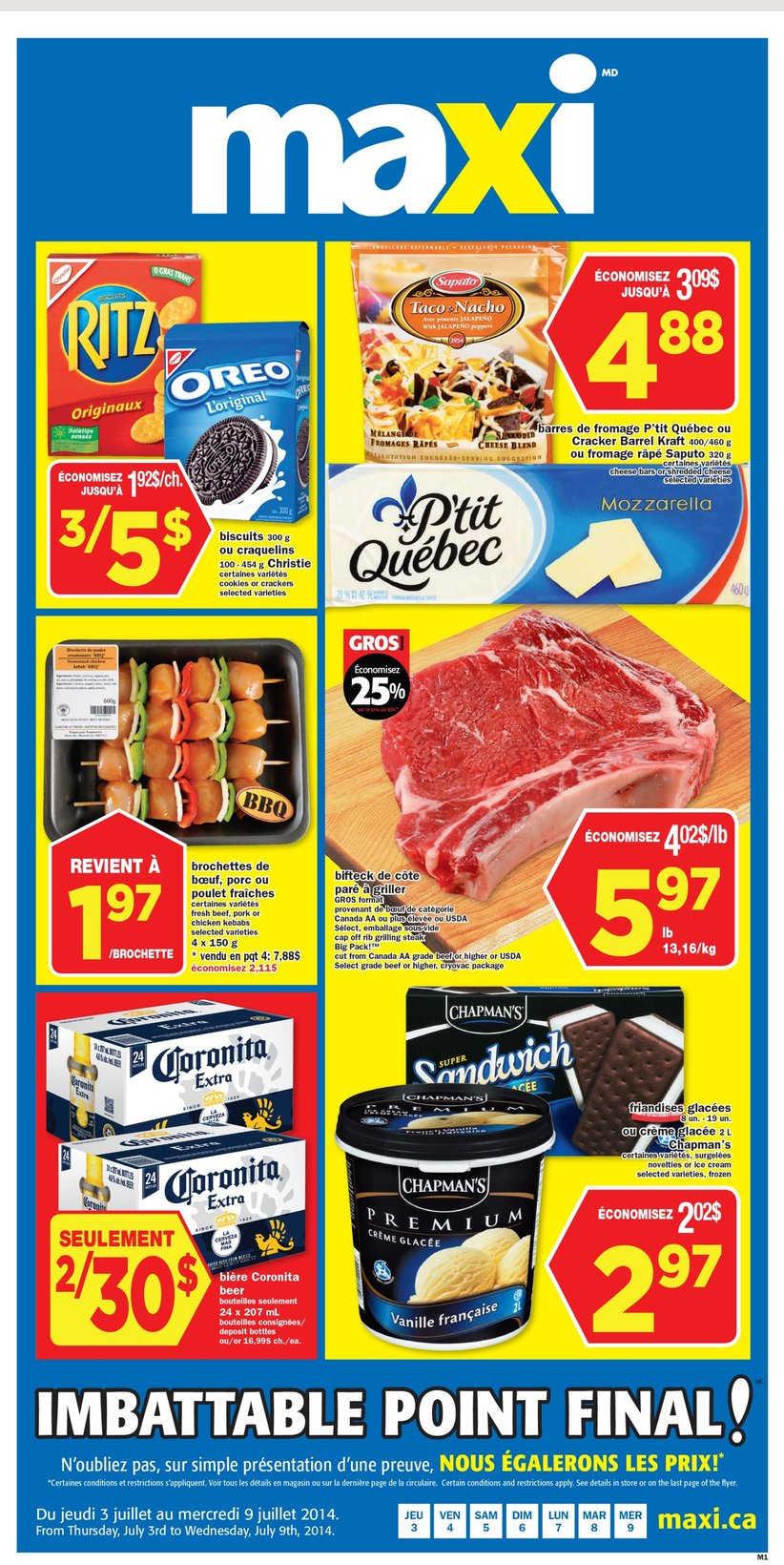 Maxi Bi Weekly Flyer Qc July 3 To 9 Canada
