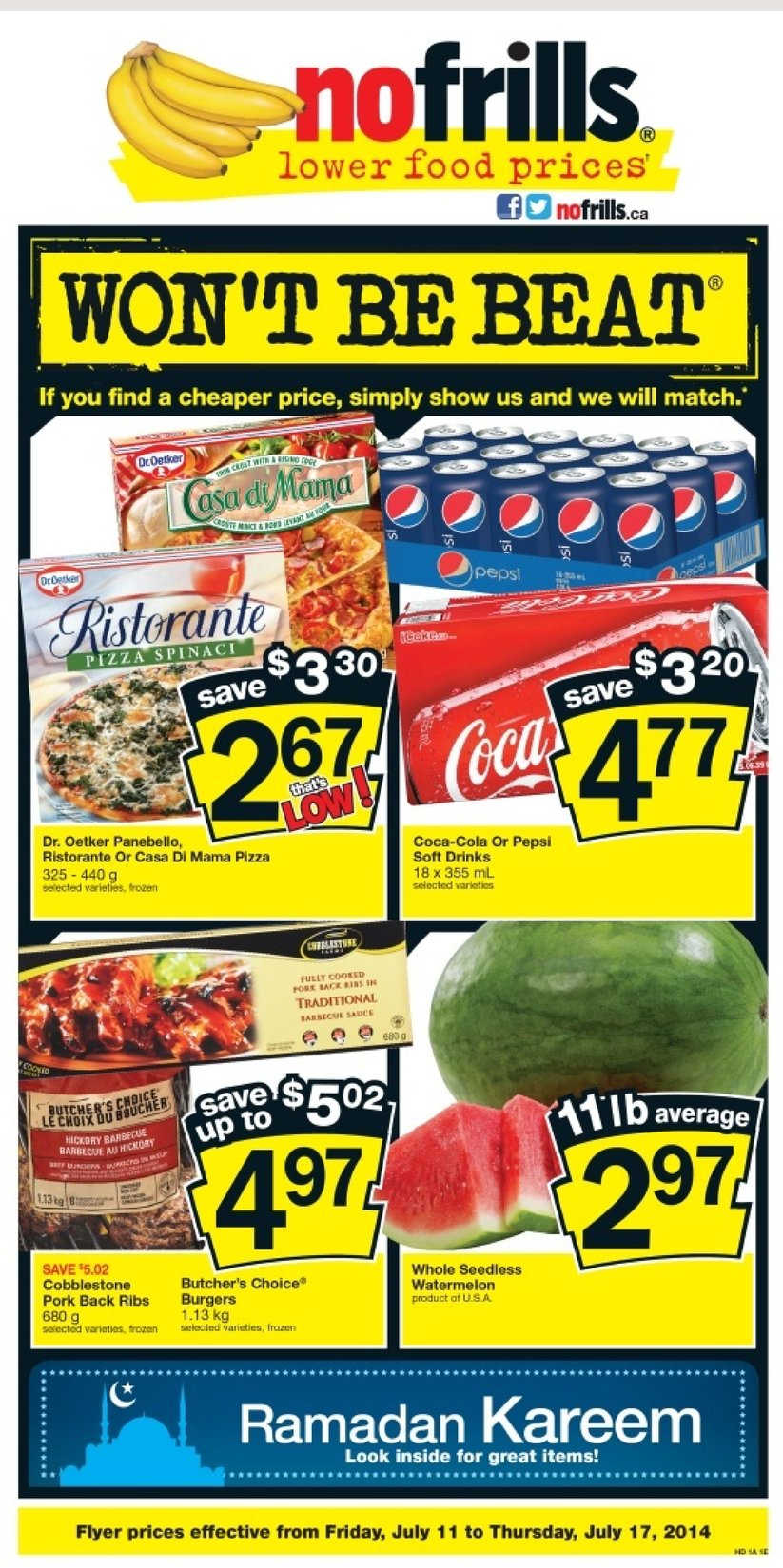 no frills weekly flyer on july 11 to 17 canada