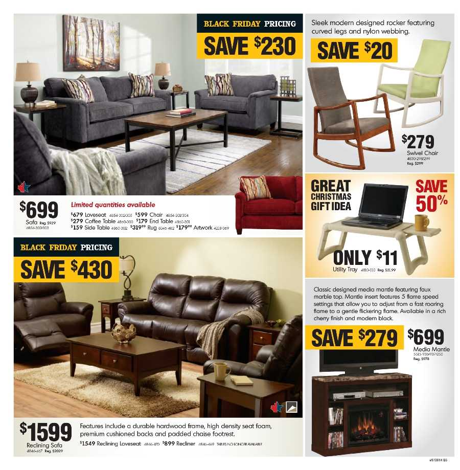 Home furniture 2014 black friday flyer november 19 to 30 for Furniture black friday
