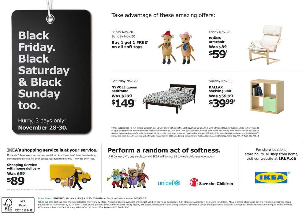 ikea black friday 2014 flyer november 28 to 30 canada. Black Bedroom Furniture Sets. Home Design Ideas