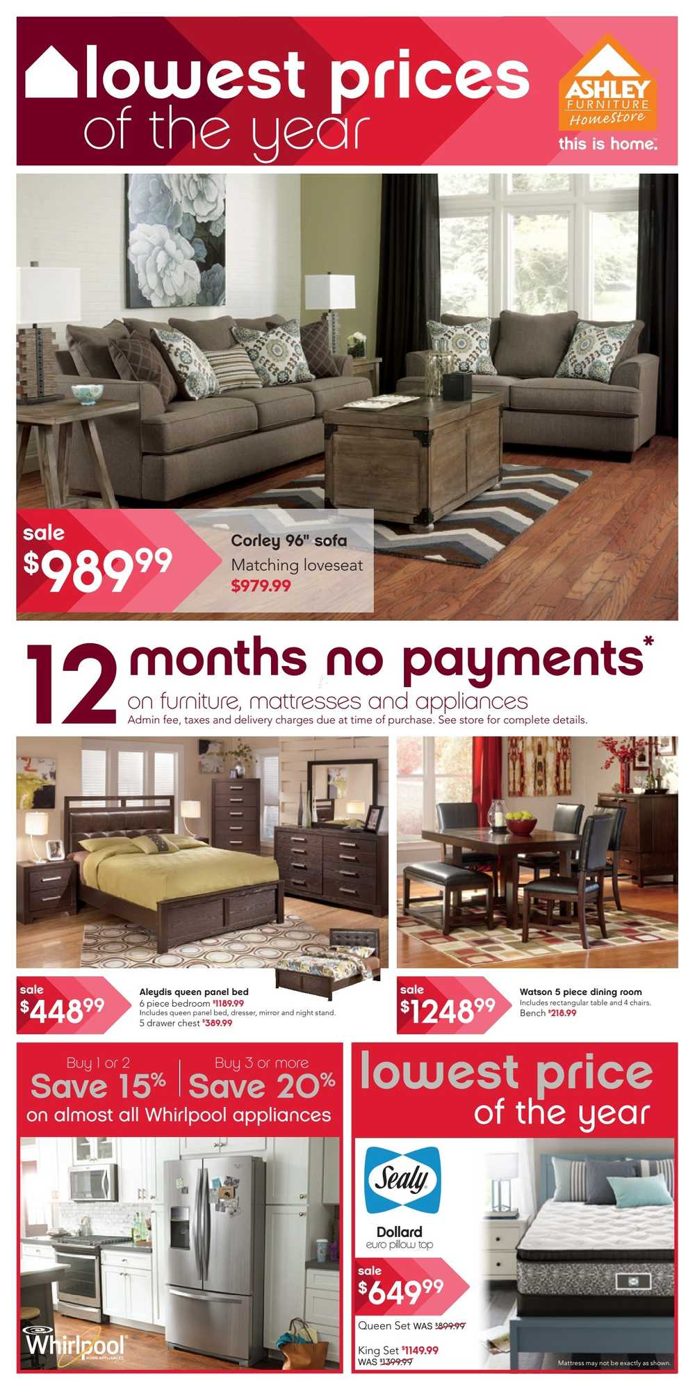 Ashley furniture home store west flyer september 17 to for Ashley furniture homestore canada