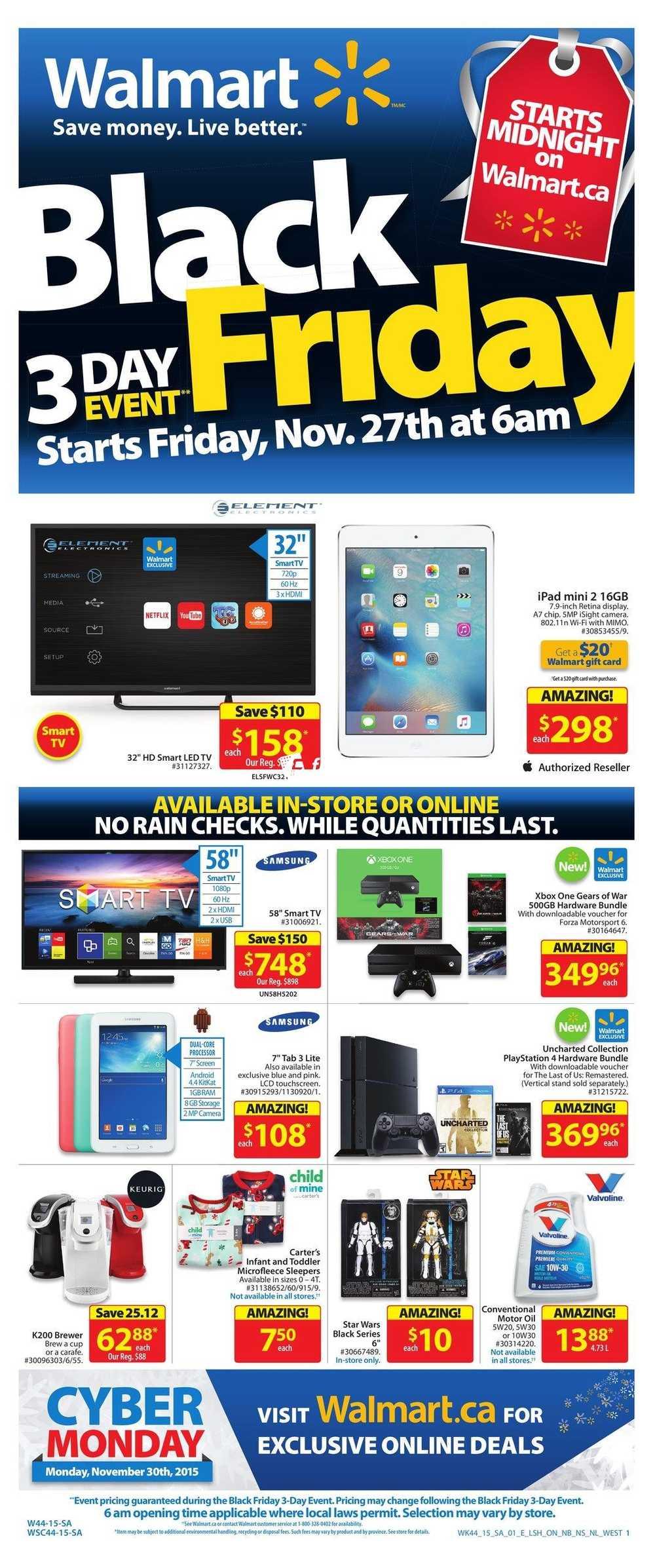 Walmart 2015 Black Friday Flyer November 27 to 29 Canada
