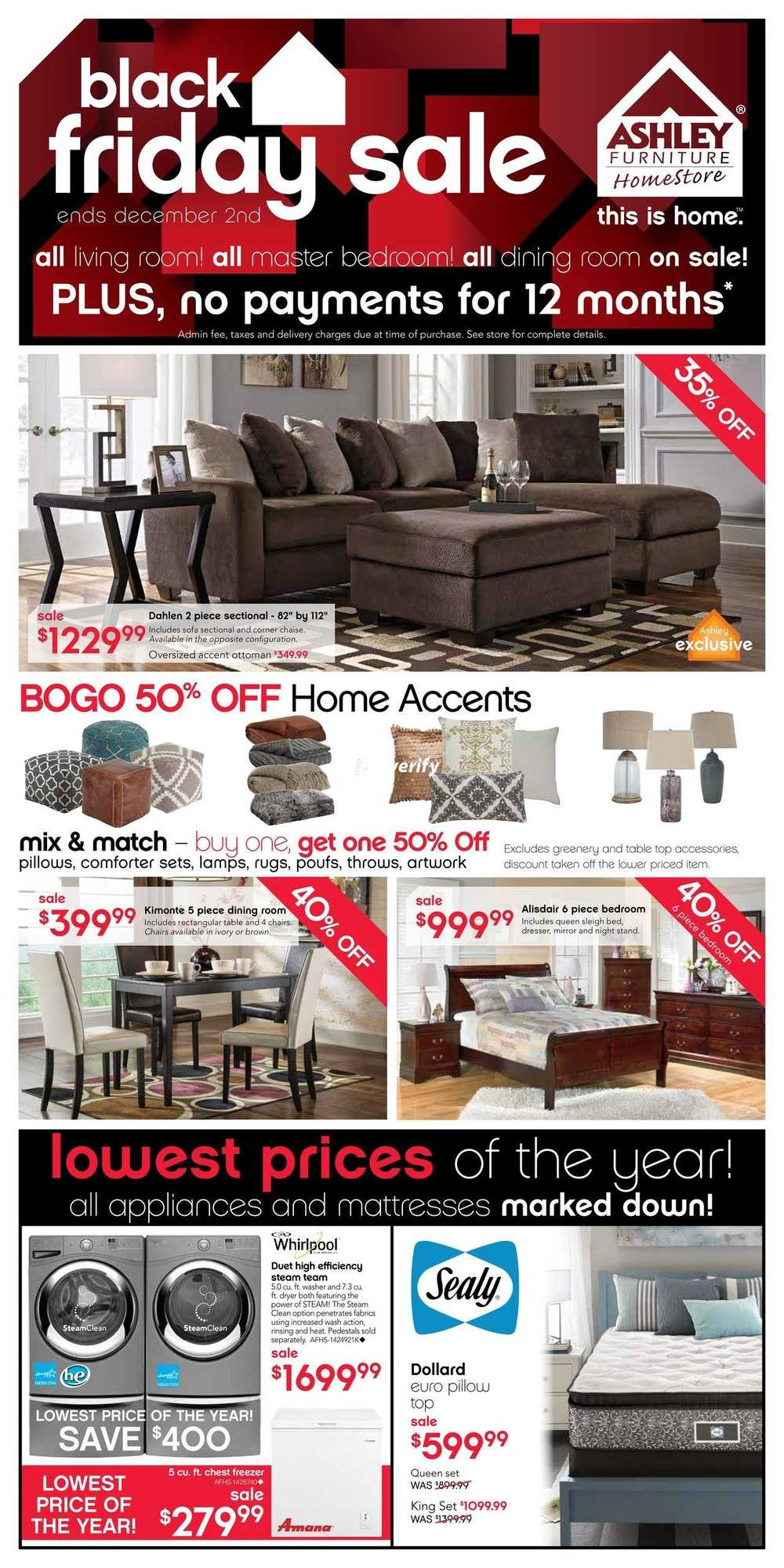 Ashley Furniture Home Store  West  Black Friday Flyer November 26 to  December 2. Ashley Furniture Homestore Flyers