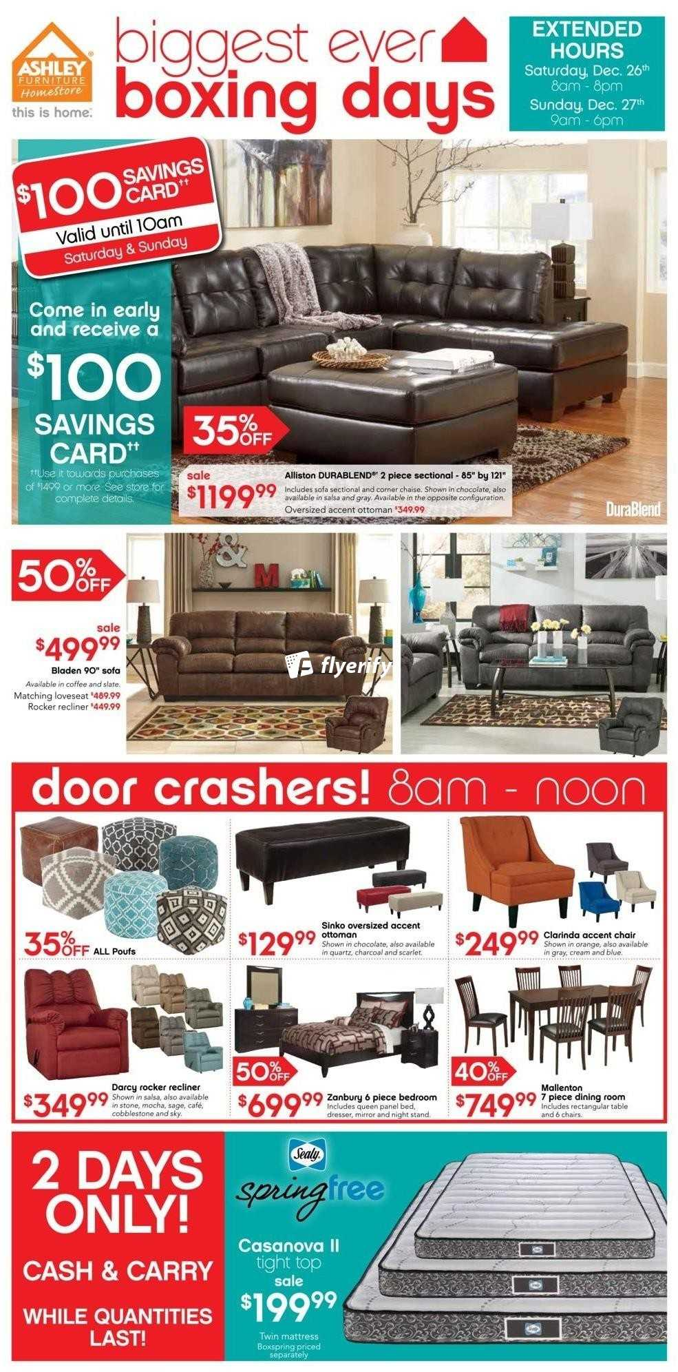 Ashley Furniture Home Store (ON) Boxing Day Flyer December 26 U0026 27