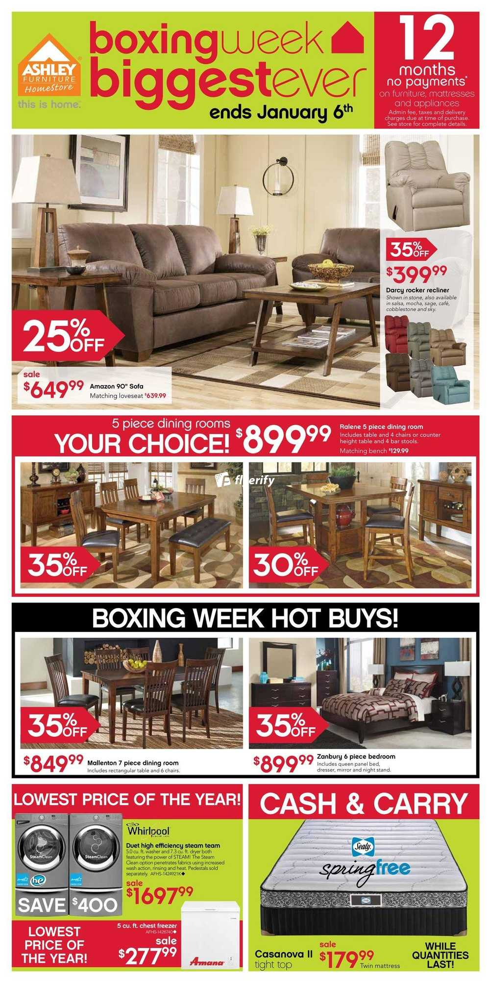 Ashley furniture home store west flyer december 27 to for Ashley furniture homestore canada
