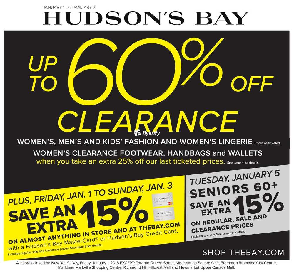 Hudson S Bay Flyer January 1 To 7 Canada