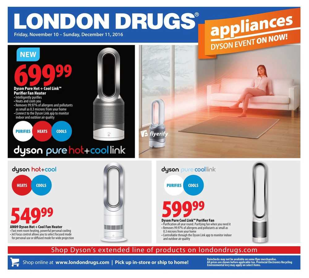 London Drugs Dyson Event Flyer November 10 To December 11