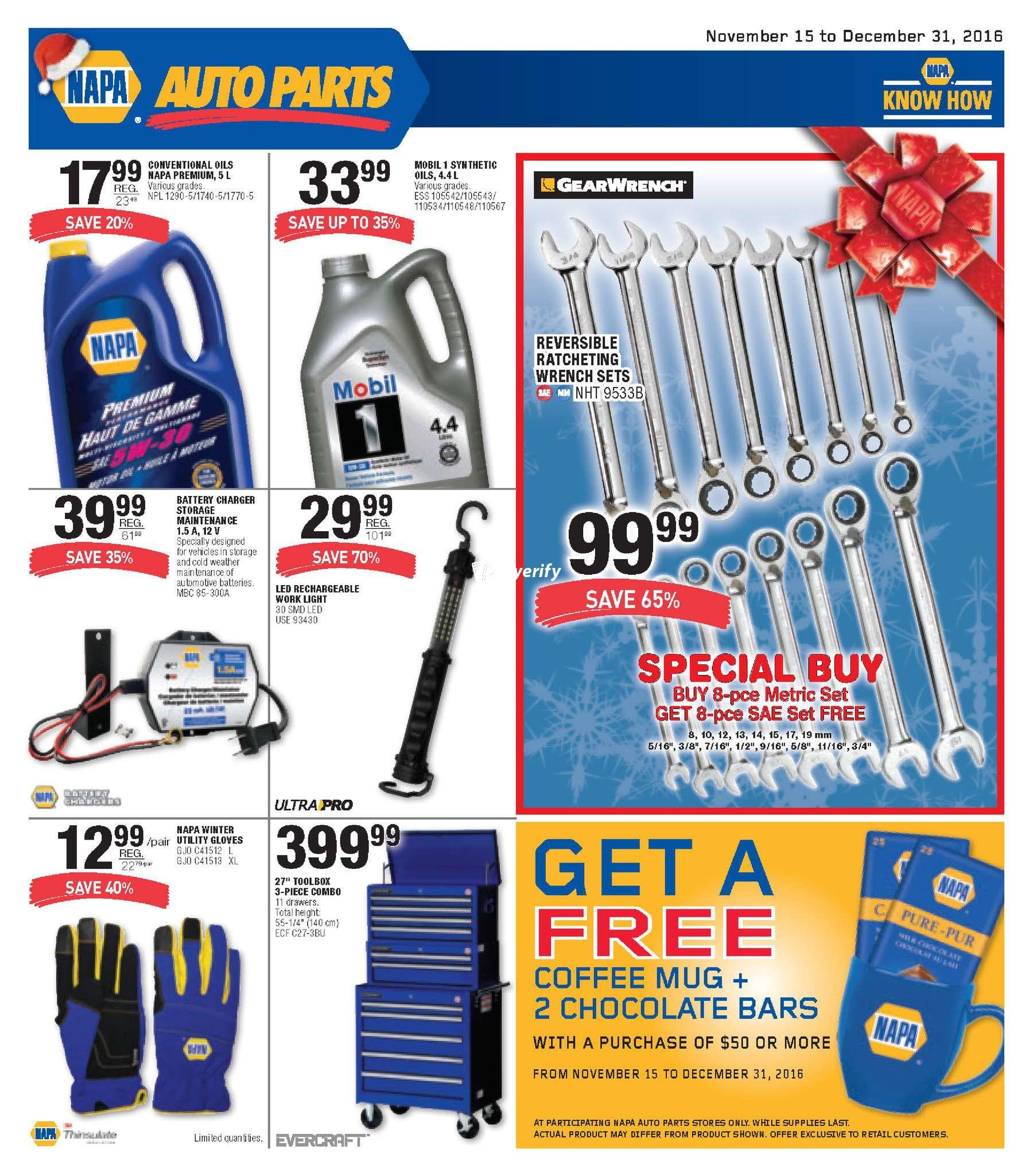 NAPA Auto Parts Flyer November 15 to December 31 Canada