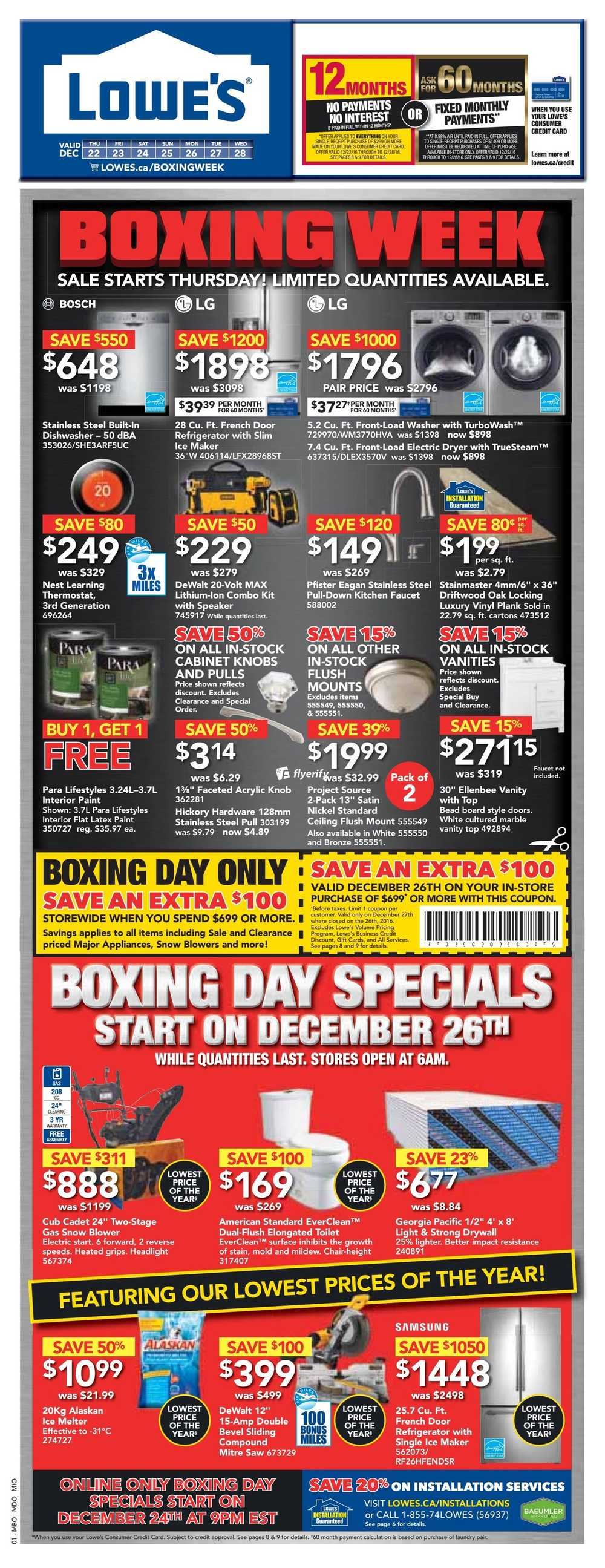 Lowe S Boxing Week Sale Flyer December 22 To 28 2016 Canada