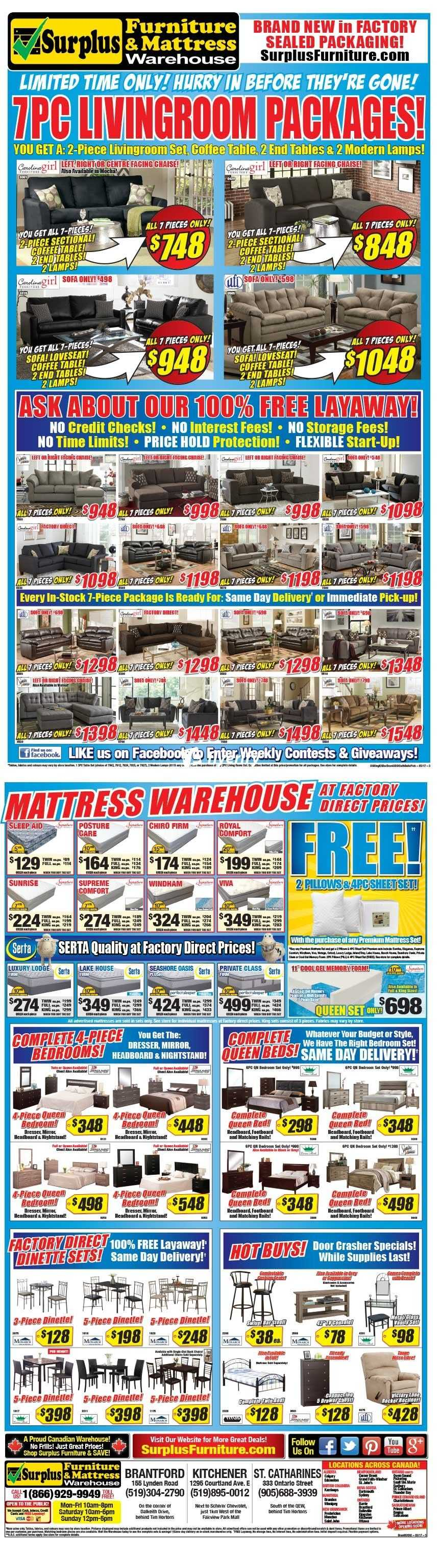 Surplus Furniture Kitchener Surplus Furniture Mattress Warehouse Kitchener Flyer March 21