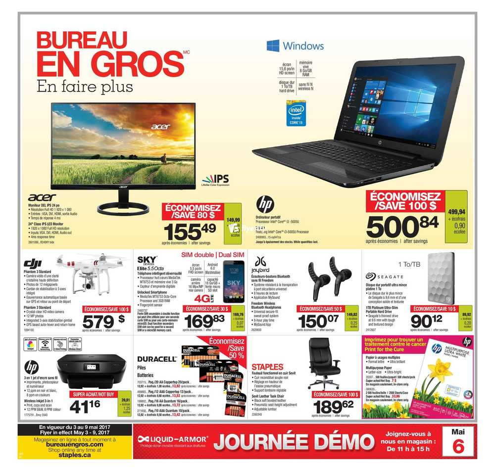 Staples flyers for Cocarde bureau en gros