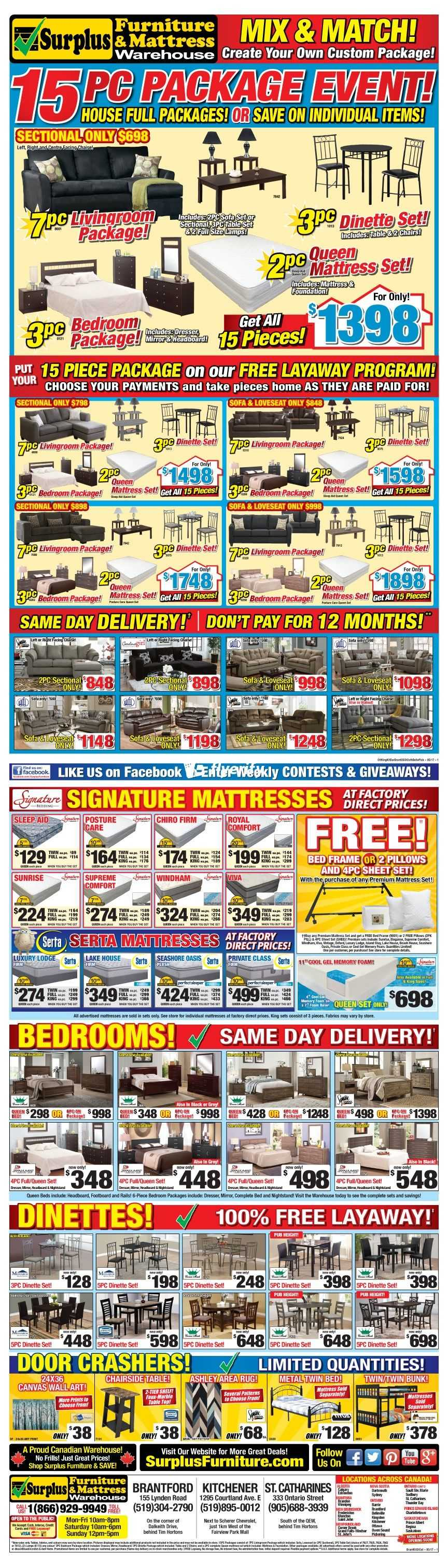 Furniture Warehouse Kitchener Surplus Furniture Mattress Warehouse Flyers