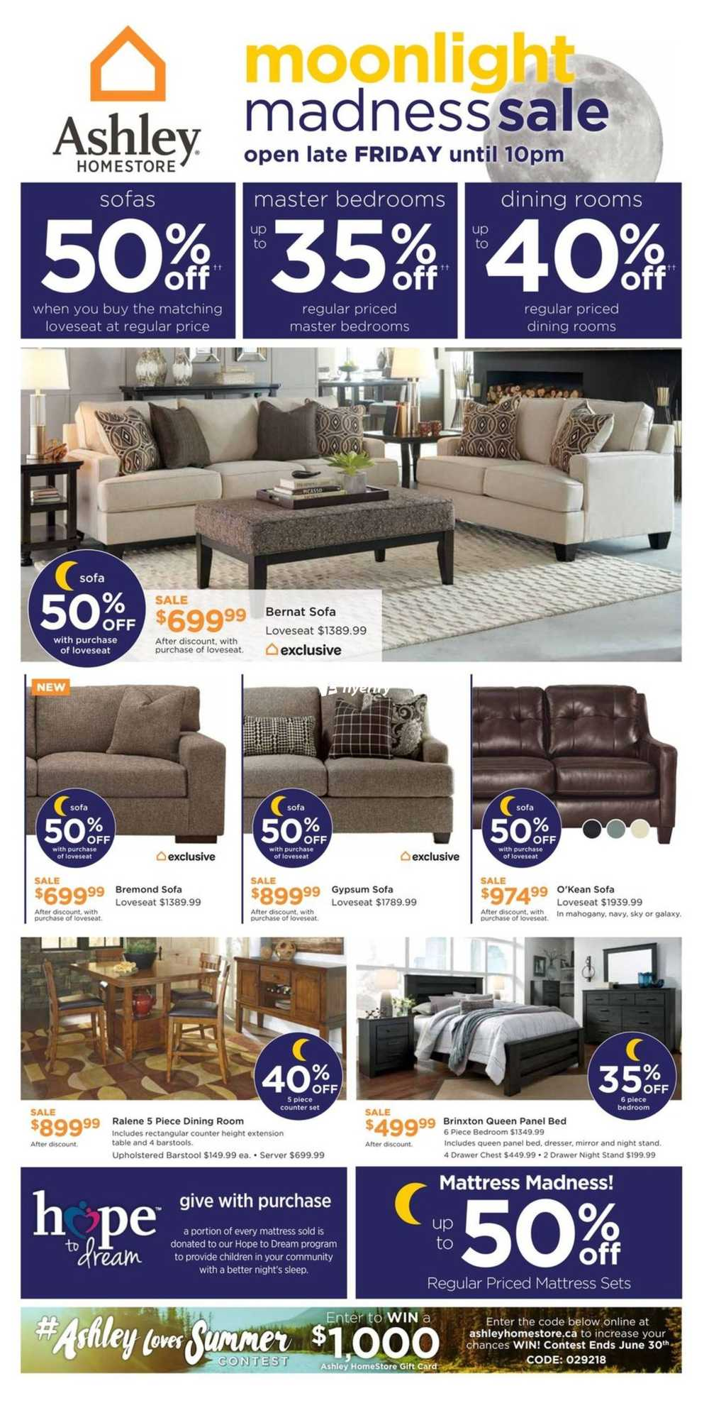 Ashley homestore on flyer june 22 to 28 canada for Ashley furniture homestore canada